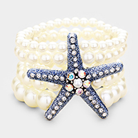 5Row Strand Pearl Crystal Starfish Stretch Bracelet