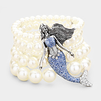 5Row Strand Pearl Crystal Mermaid Stretch Bracelet