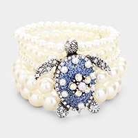 5Row Strand Pearl Crystal Turtle Stretch Bracelet