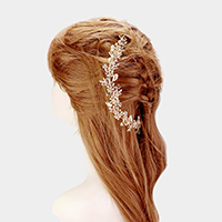 Crystal Rhinestone Pave Flower Leaf Hair Comb