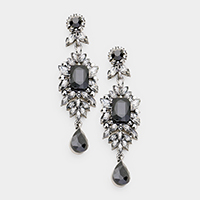 Crystal Rhinestone Marquise Drop Evening Earrings