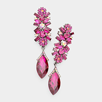 Marquise Glass Crystal Drop Evening Earrings
