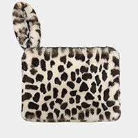 Leopard Faux Fur Round Key Chain Crossbody Bag