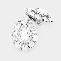 Crystal Round Trimmed Teardrop Clip On Evening Earrings