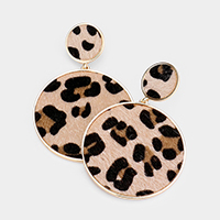 Double Leopard Patterned Round Disc Earrings