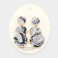 3Pairs - Snake Skin Textured Round Disc Earrings
