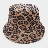 Leopard Textured Cotton Bucket Cap