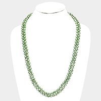 Faceted Glass Beaded Long Necklace