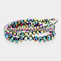 3PCS - Faceted Bead Stretch Bracelets