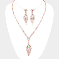 Crystal Teardrop Rhinestone Pave Y Necklace