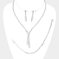3PCS - Crystal Round Rhinestone Pave Necklace Set