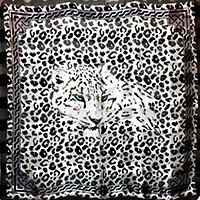 Silk Feel Striped Leopard Print Square Scarf