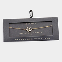 Secret Box _ CZ Zodiac Sign  Aquarius Charm Bracelet