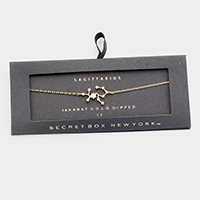 Secret Box _ 14K Gold CZ Zodiac Sign Sagittarius Charm Bracelet
