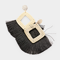 Cut Out Marquise Woven Straw Tassel Earrings