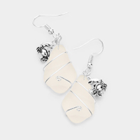 Wire Wrapped Sea Glass Metal Crab Earrings