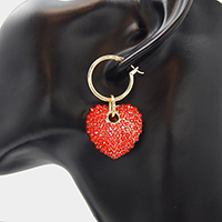 Crystal Embellished Heart Half Hoop Pin Catch Earrings