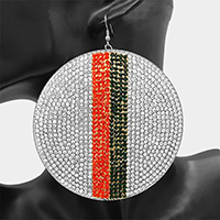 Over Size Crystal Embellished Color Block Wide Round Earrings