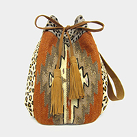 Boho Leopard Leather Bucket Bag