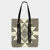 Aztec Pattern Suede Handle Woven Tote Bag