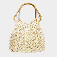 Crochet Knit Bamboo Handle Bag