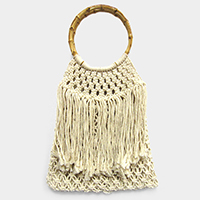 Fringe Woven Crochet Fishnet Bag