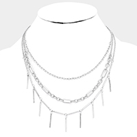 Triple Strand Bar Metal Chain Necklace