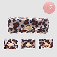 12PCS - Leopard Textured Lipstick Cases with Mirrors