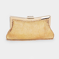 Crystal Pave Clasp Closure Evening Clutch Bag