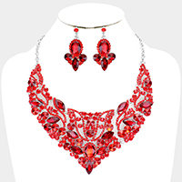 Crystal Pave Marquise Cluster Collar Evening Necklace