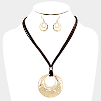 Layered Cord Cut Out Metal Circle Pendant Necklace