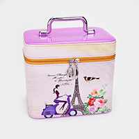 2PCS - Rectangle Cosmetic Paris Eiffel Tower Woman Print Bags