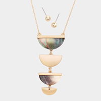 4Tired Semi Circle Abalone Pendant Long Necklace