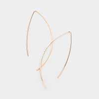 Plated Brass Textured Long Fish Hook Metal Earrings