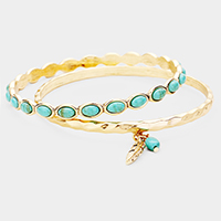 2PCS - Feather Turquoise Charm Metal Bangle Bracelets