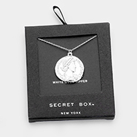 Secret box _ White Gold Dipped CZ Coin Pendant Necklace