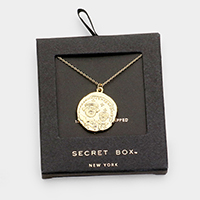Secret box _ Gold Dipped CZ Coin Pendant Necklace