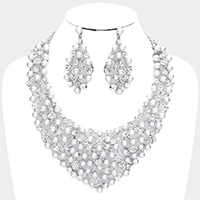 Crystal Rhinestone Pave Pearl Leaf Vine Evening Necklace
