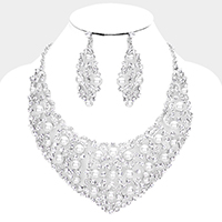 Crystal Rhinestone Pave Pearl Bubble Evening Necklace
