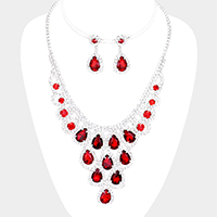 Crystal Teardrop Cluster Rhinestone Pave Necklace