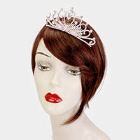 Crystal Rhinestone Pave Teardrop Accented Pageant Queen Tiara
