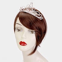 Crystal Oval Rhinestone Pave Accented Crown Tiara