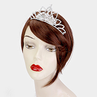 Crystal Oval Rhinestone Pave Accented Princess Tiara