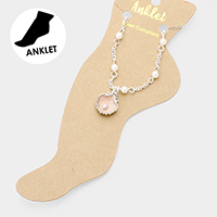 Pearl Detailed Shell Charm Anklet