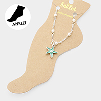 Pearl Detailed Starfish Charm Anklet