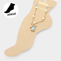 Pearl Detailed Turtle Charm Anklet