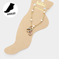 Pearl Detailed Mermaid Charm  Anklet