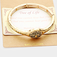 Matthew 7:18 Tree Of Life Stretch Metal Bracelet