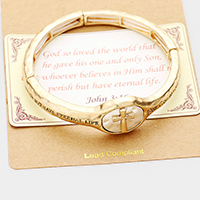 John 3:16 Cross Stretch Metal Bracelet
