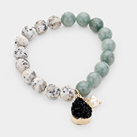 Natural Stone Bead Pearl Charm Stretch Bracelet